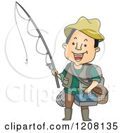 Happy Man Holding A Fishing Rod And Other Gear