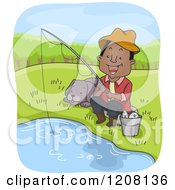 Cartoon Of A Happy Black Man Fishing With His Dog Royalty Free Vector Clipart