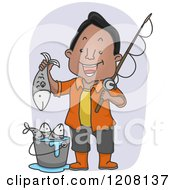 Cartoon Of A Happy Black Man Holding His Caught Fish Royalty Free Vector Clipart