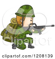 Cartoon Of A Male Soldier Kneeling And Aiming A Rifle Royalty Free Vector Clipart