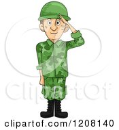 Cartoon Of A Saluting Soldier Royalty Free Vector Clipart by BNP Design Studio