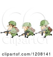 Cartoon Of A Row Of Soldiers Running With Guns Royalty Free Vector Clipart by BNP Design Studio