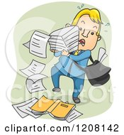 Cartoon Of A Man Dropping A Stack Of Paper Royalty Free Vector Clipart by BNP Design Studio