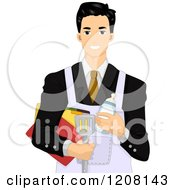 Cartoon Of A Handsome Businessman Wearing An Apron Over A Suit Royalty Free Vector Clipart