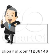 Cartoon Of A Happy Businesman Holding A Thumb Up And Leaning On A Sign Royalty Free Vector Clipart
