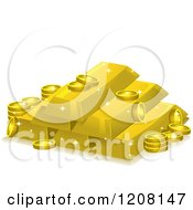 Cartoon Of A Stack Of Gold Bars And Coins Royalty Free Vector Clipart