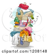 Cartoon Of A Pile Of Dirty Smely Laundry With Flies Royalty Free Vector Clipart by BNP Design Studio