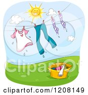 Cartoon Of A Sun Over A Clothes Line With Laundry Royalty Free Vector Clipart