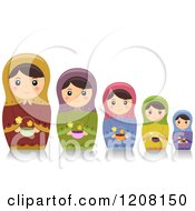 Cartoon Of A Row Of Matryoshka Nesting Dolls With Flowers Royalty Free Vector Clipart by BNP Design Studio