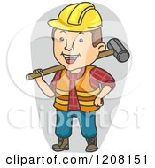 Cartoon Of A Happy Construction Worker Holding A Sledgehammer Royalty Free Vector Clipart by BNP Design Studio