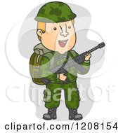 Cartoon Of A Soldier In Camouflage Carrying A Rifle Royalty Free Vector Clipart