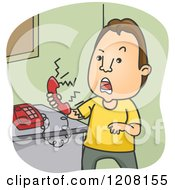 Cartoon Of A Man Screaming Angrily Into A Telephone Royalty Free Vector Clipart