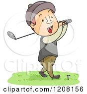 Cartoon Of A Happy Man Golfing Royalty Free Vector Clipart