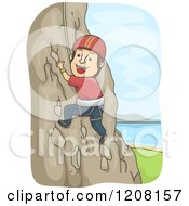 Cartoon Of A Happy Man Rock Climbing Royalty Free Vector Clipart