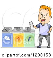 Cartoon Of A Happy Man Holding A Bottle At A Recycle Center Royalty Free Vector Clipart by BNP Design Studio