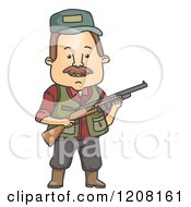 Cartoon Of A Hunter Man Holding A Rifle Royalty Free Vector Clipart