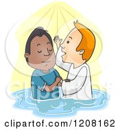 Cartoon Of A Man Getting Baptized Royalty Free Vector Clipart