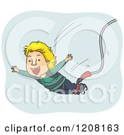 Cartoon Of A Happy Man Falling During A Bungee Jump Royalty Free Vector Clipart by BNP Design Studio