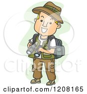 Cartoon Of A Male Explorer Holding Binoculars Royalty Free Vector Clipart