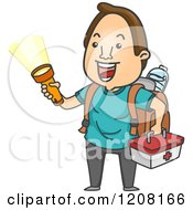 Cartoon Of A Happy Man With An Emergency Kit And Flashlight Royalty Free Vector Clipart