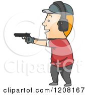 Cartoon Of A Man Target Shooting Royalty Free Vector Clipart