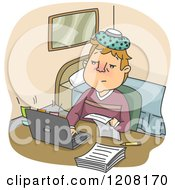 Cartoon Of A Sick Man Working At Home With An Ice Pack On His Head Royalty Free Vector Clipart