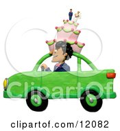 3d Man Driving With A Wedding Cake On Top Of A Car