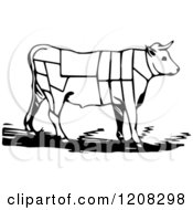 Clipart Of A Black And White Cow With Butcher Sections Of Bullock Royalty Free Vector Illustration