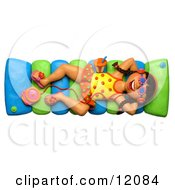 Clay Sculpture Clipart Girl Listening To An Mp3 Player And Floating In A Pool Royalty Free 3d Illustration by Amy Vangsgard