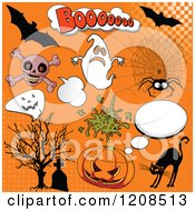 Cartoon Of Comic Styled Halloween Design Elements Over Orange Royalty Free Vector Clipart by Pushkin