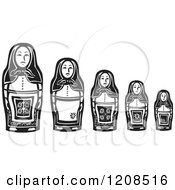 Clipart Of A Line Of Russian Matryoshka Nesting Dolls Royalty Free Vector Illustration by xunantunich