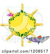 Cartoon Of A Whale And Tropical Fish Over A Sun Frame Royalty Free Vector Clipart by bpearth