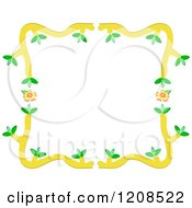 Border Frame Of Yellow Flowers And Branches