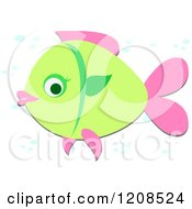 Cartoon Of A Green And Pink Fish With Bubbles Royalty Free Vector Clipart