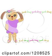 Cartoon Of A Dog Girl And Frame Of Bones Royalty Free Vector Clipart by bpearth