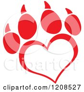 Cartoon Of A Red Heart Shaped Love Paw Print Royalty Free Vector Clipart
