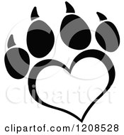 Cartoon Of A Black And White Heart Shaped Love Paw Print Royalty Free Vector Clipart