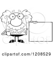 Cartoon Of An Outlined Science Professor Holding A Sign Royalty Free Vector Clipart