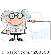 Cartoon Of A Science Professor Holding A Sign Royalty Free Vector Clipart