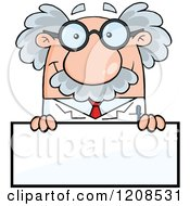 Cartoon Of A Science Professor Over A Sign Royalty Free Vector Clipart