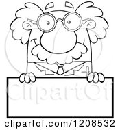Cartoon Of An Outlined Science Professor Over A Sign Royalty Free Vector Clipart