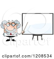 Cartoon Of A Science Professor Holding A Pointer Stick To A White Board Royalty Free Vector Clipart