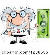 Cartoon Of A Science Professor Holding A Dollar Bill Royalty Free Vector Clipart