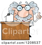 Cartoon Of A Science Professor Speaking Behind A Podium Royalty Free Vector Clipart