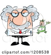 Cartoon Of A Science Professor Holding A Frog Royalty Free Vector Clipart by Hit Toon