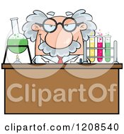 Cartoon Of A Science Professor Conducting An Experiment Royalty Free Vector Clipart by Hit Toon