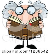 Cartoon Of A Science Professor Reading A Book Royalty Free Vector Clipart