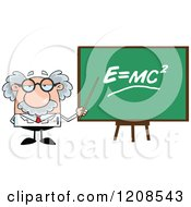 Cartoon Of A Science Professor Holding A Pointer Stick To A Physics Board Royalty Free Vector Clipart by Hit Toon