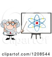 Cartoon Of A Science Professor Holding A Pointer Stick To An Atom On A Board Board Royalty Free Vector Clipart