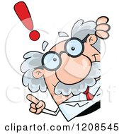 Cartoon Of A Science Professor With An Idea Looking Around A Sign Royalty Free Vector Clipart